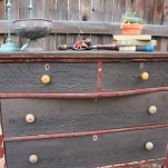 Distressed yellow knobs and burlap knobs