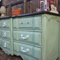 We love the aqua green with the walnut top