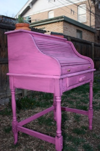 The client fell in love with a hot pink desk with heavy glazing and asked me to replicate the look