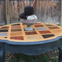 Beautiful stained top and layered charcoal base