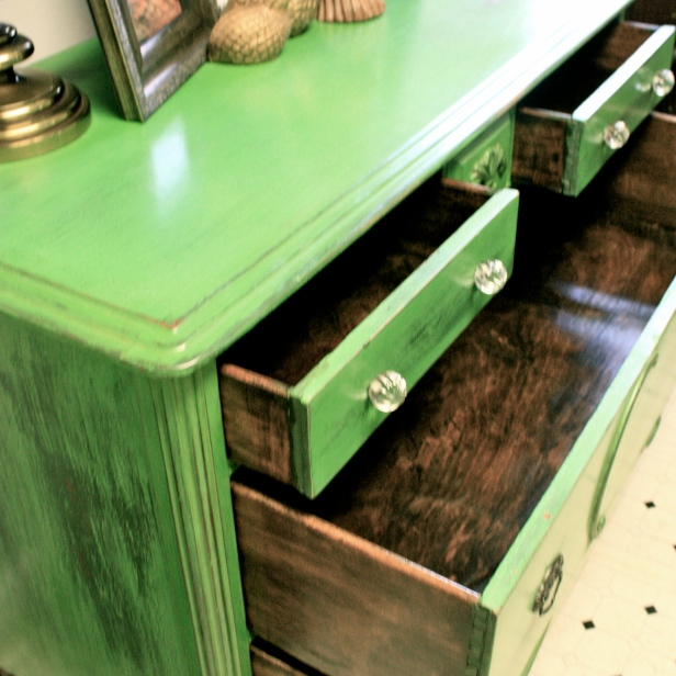 The newly refinished drawers