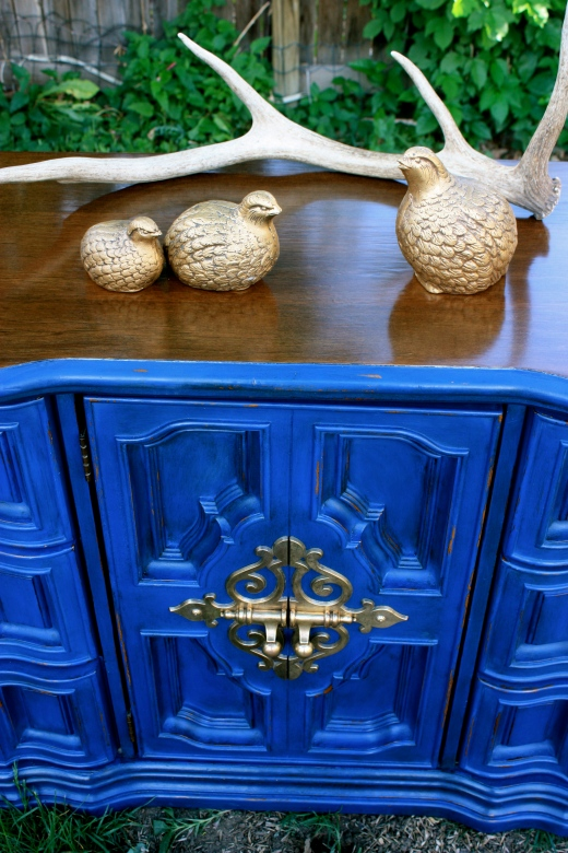 The walnut stain and royal blue play so well together