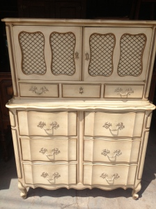 13 drawers!  Another stunning antique French Provincial chest-on-chest. Chicken wire is included :)