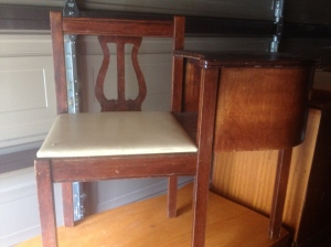 1940's telephone table with harp back.  Great condition!