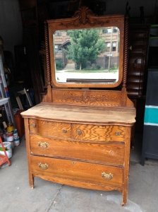Antique farmhouse oak dresser from the turn of the century.