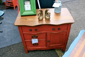 Beautiful chippy red antique wash basin