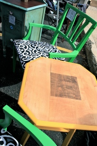 Our pair of vibrant green chairs, The Janis and The Joplin.